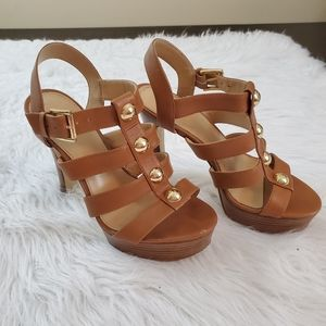 **Michael Kors Sz 7 Brown Strappy Platform Heels